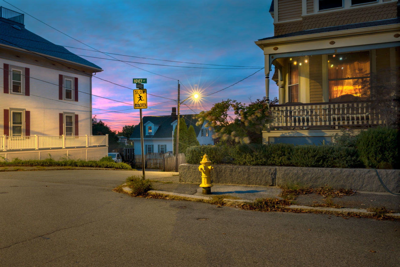 photograph of edward hoper house in gloucester new england at dusk