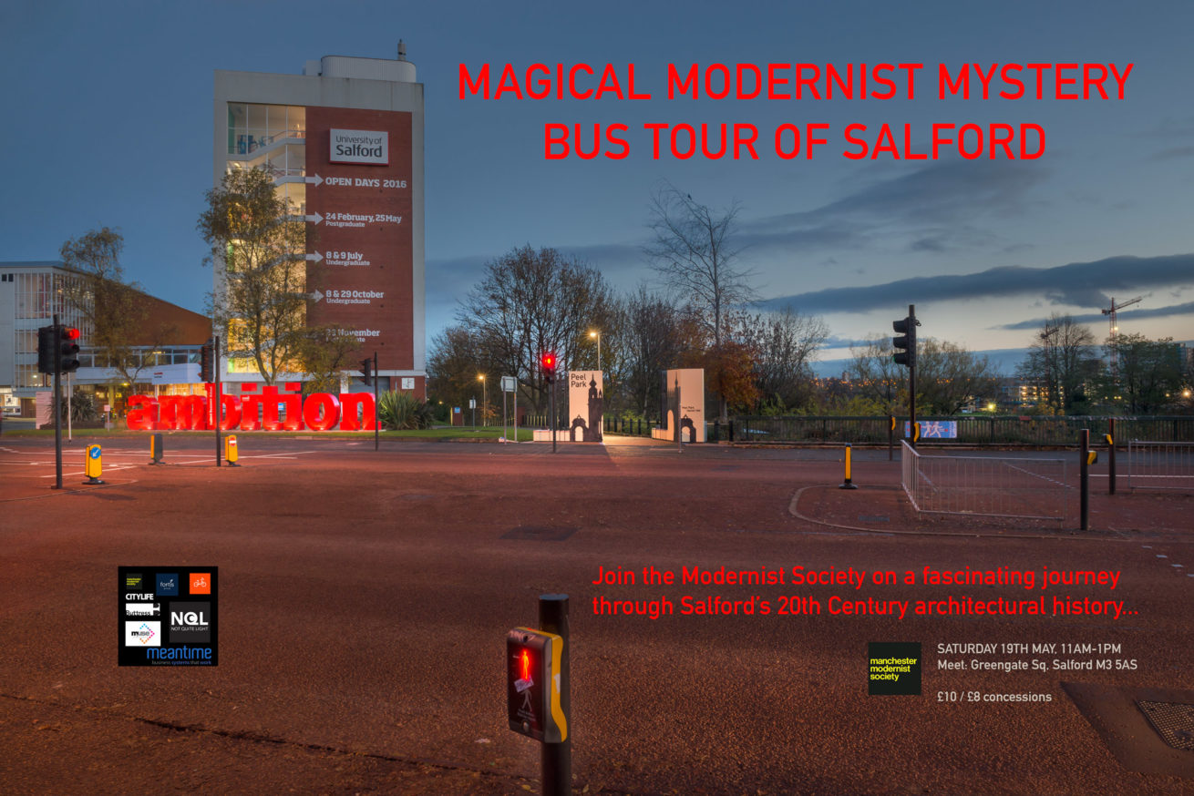 not quite light weekend may event salford guided bus tour with the modernist society